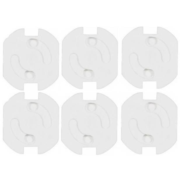 6x Stopcontact beveiliging klem/stopcontactbeveiligers wit met randaarde - Stopcontactbeschermers - Kindveilig