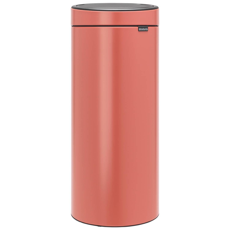 Korting Brabantia Touch Bin afvalemmer 30 liter met kunststof binnenemmer Terracotta Pink