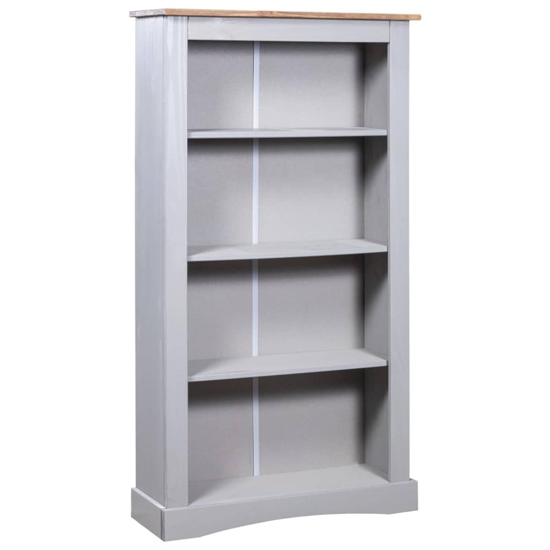VidaXL Boekenkast 4 Planken 81x29x150 Cm Grenenhout Corona-stijl Grijs online kopen