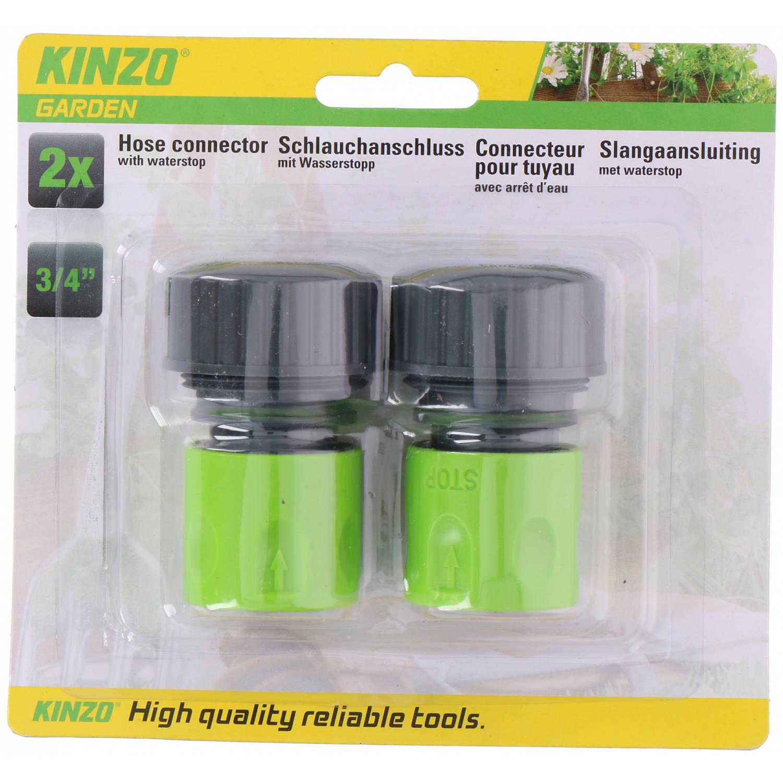 Kinzo Slangaansluiting 4,2 X 6,2 Cm Abs Groen/grijs 2-delig