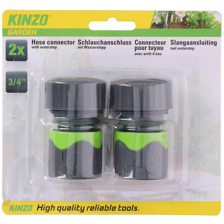 Kinzo Slangaansluiting 4,2 X 6,5 Cm Abs Grijs/groen 2-delig