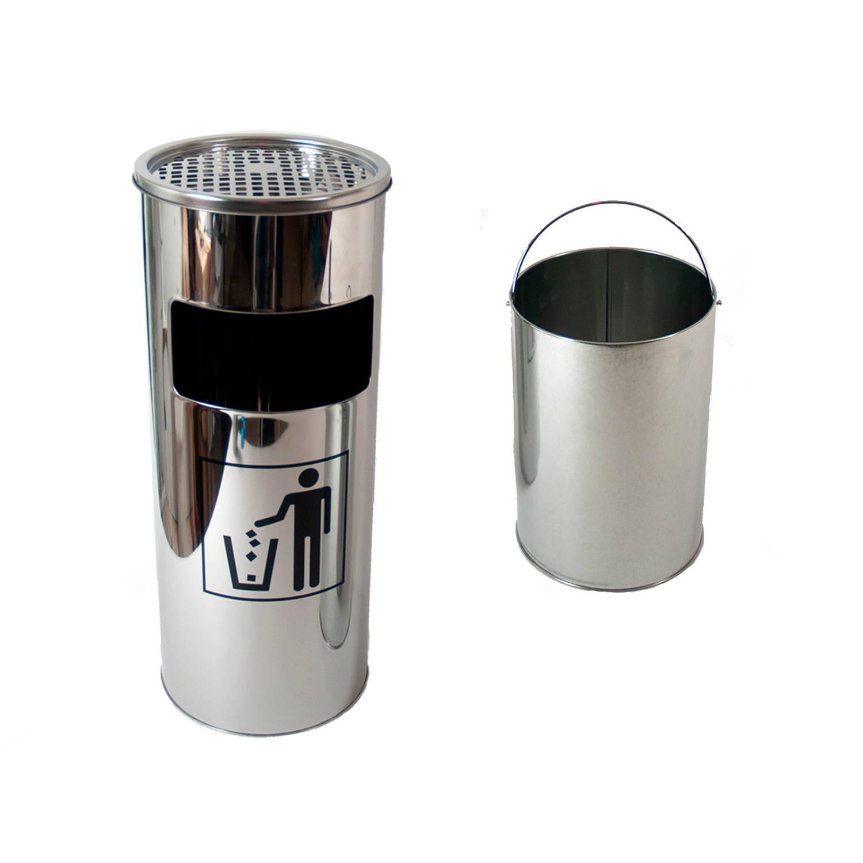 Gerimport - Staande Afvalbak Met Asbak - Inhoud 17l - 25x25x61cm - Chrome