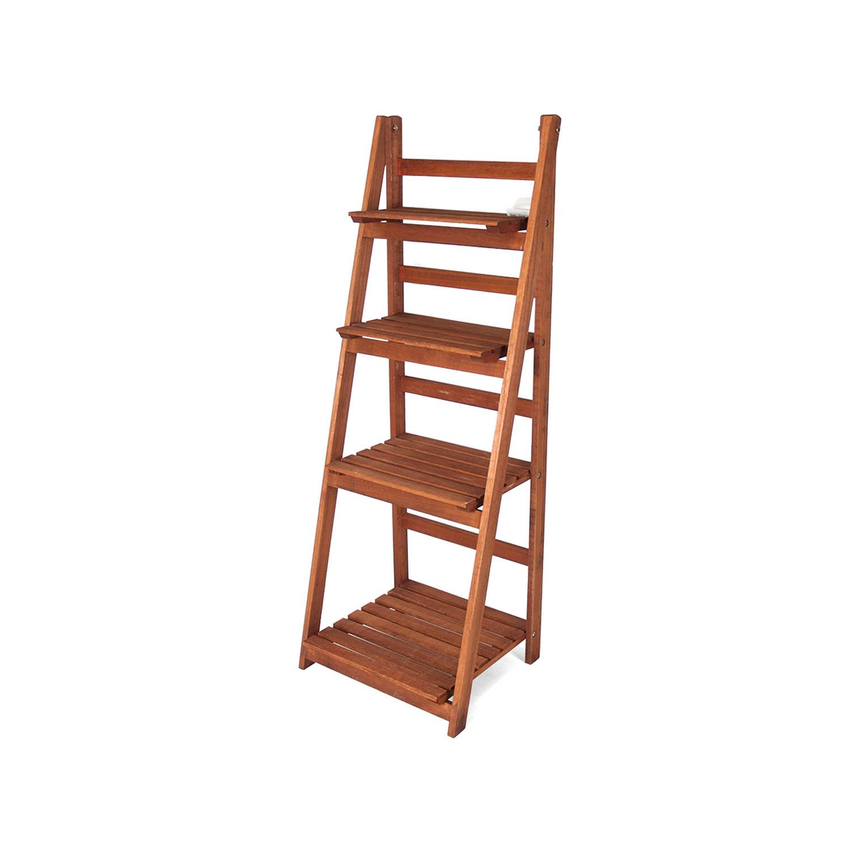 Gerimport Houten Decoratie Ladder Emma Opbergplank Ladderrek Met 4 Planken Open Kast Bruin Blokker