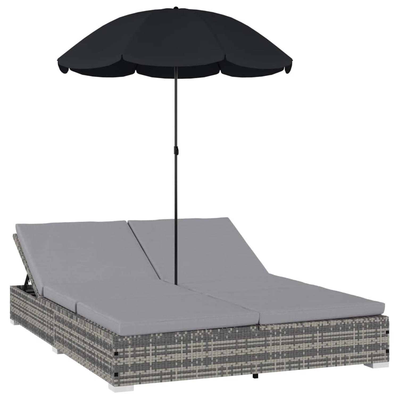 Vidaxl Loungebed Met Parasol Poly Rattan Grijs