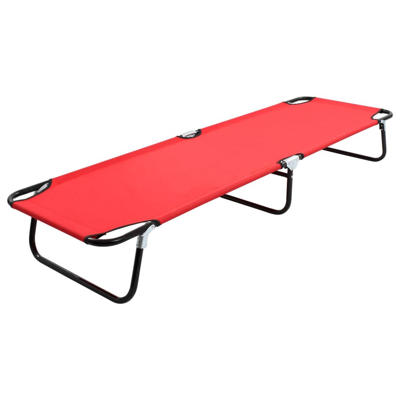 vidaXL Ligbed inklapbaar staal rood
