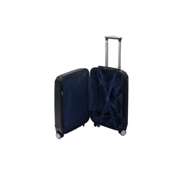 Handbagage koffer 55cm zwart 4 wielen trolley met pin slot