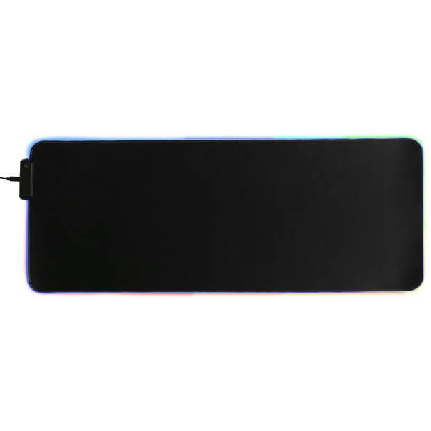 Silvergear Gaming Muismat XXL met 7 kleuren LED licht - 80 x 30 cm - Bedraad