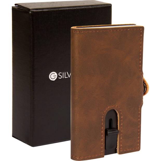 Silvergear Pasjeshouder Portemonnee - Heren en Dames - Smart Wallet - PU Leer - Donker Bruin
