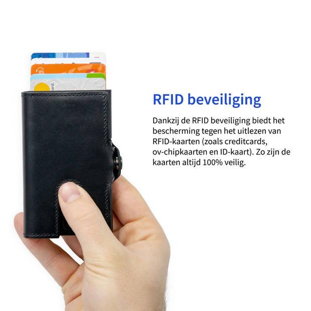 Silvergear Leder Pasjeshouder Portemonnee - Zwart - RFID Anti-skim Bescherming