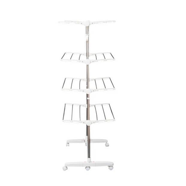 Stevige XL Droogtoren Op Wielen - Verrijdbaar & Inklapbaar - Staand Droogrek Toren - Waslijn Rek 4 Verdiepingen - Wasdro