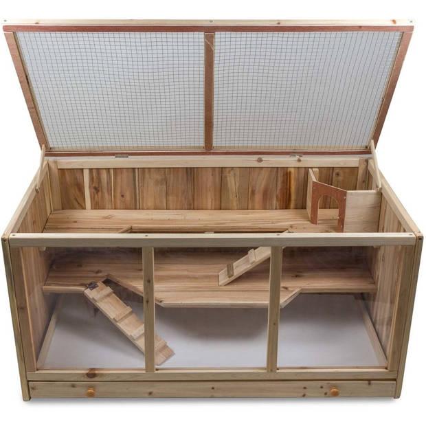 Grote Houten Hamsterkooi - Rechthoekige Hamster / Muizenkooi - 115 x 60 x 57 cmi