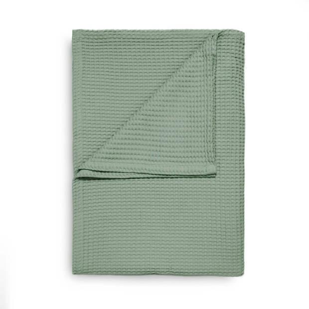 Heckett & Lane Wafel Bedsprei Deken - granite green 180x260cm