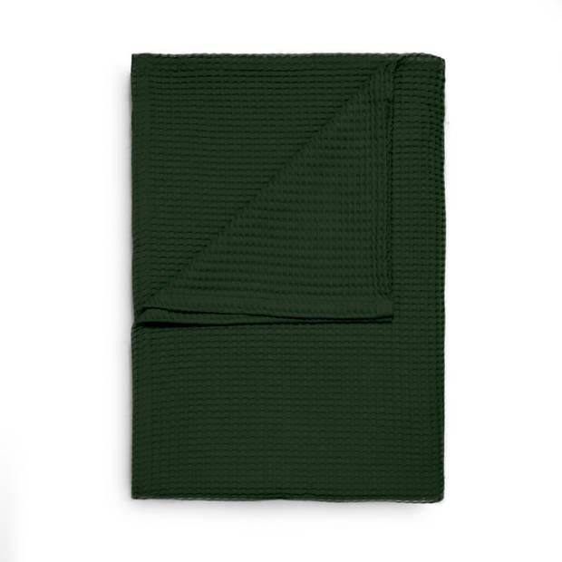 Heckett & Lane Wafel Bedsprei Deken - bistro green 180x260cm