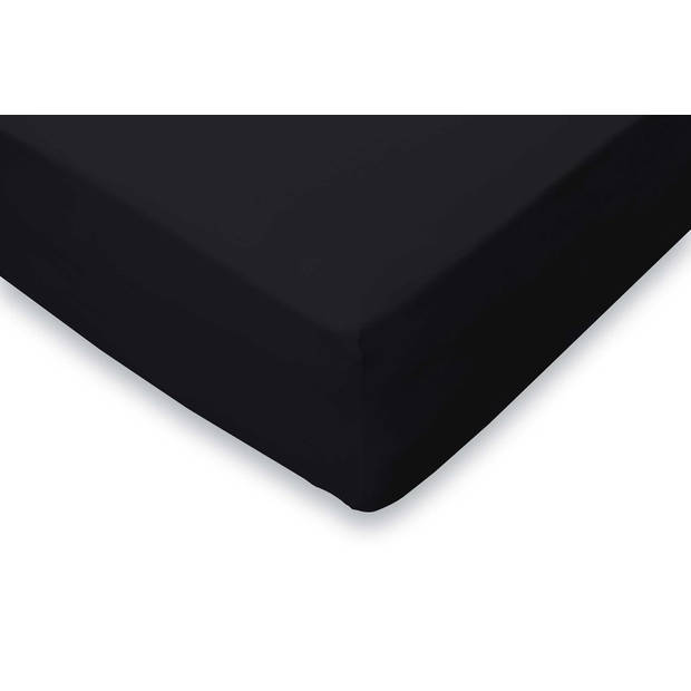 Elegance Hoeslaken Jersey Katoen Stretch 35cm Hoge Hoek - zwart 160x210/220cm