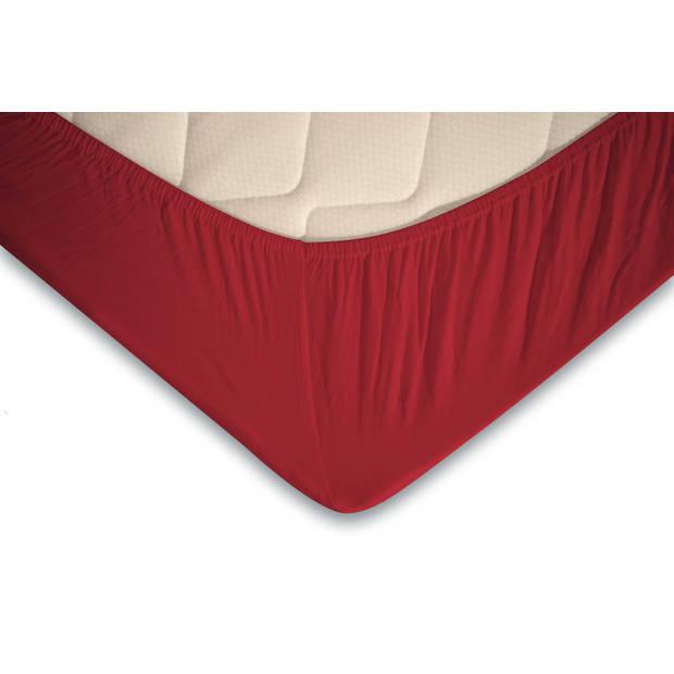 Elegance Topper Hoeslaken Jersey Katoen Stretch - rood 90x210/220 - 100x200cm