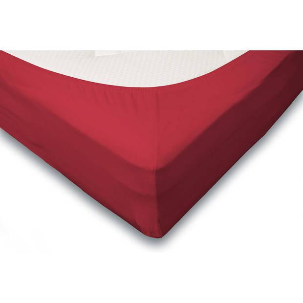 Elegance Hoeslaken Jersey Katoen Stretch 35cm Hoge Hoek - rood 140x210/220cm