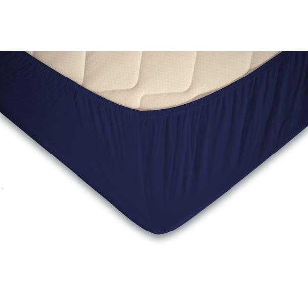 Elegance Topper Hoeslaken Jersey Katoen - donker blauw 180x200cm