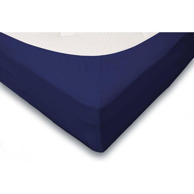 Elegance Hoeslaken Jersey Katoen Stretch 35cm Hoge Hoek - donker blauw 140x210/220cm
