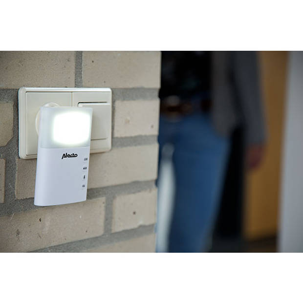 Alecto ADB-19 Draadloze deurbel met flitslicht, wit