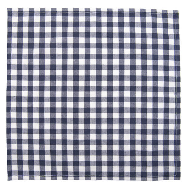Clayre & Eef - servetten 6 stuks - 40*40 cm - blauw - 100% katoen - LCH43BL