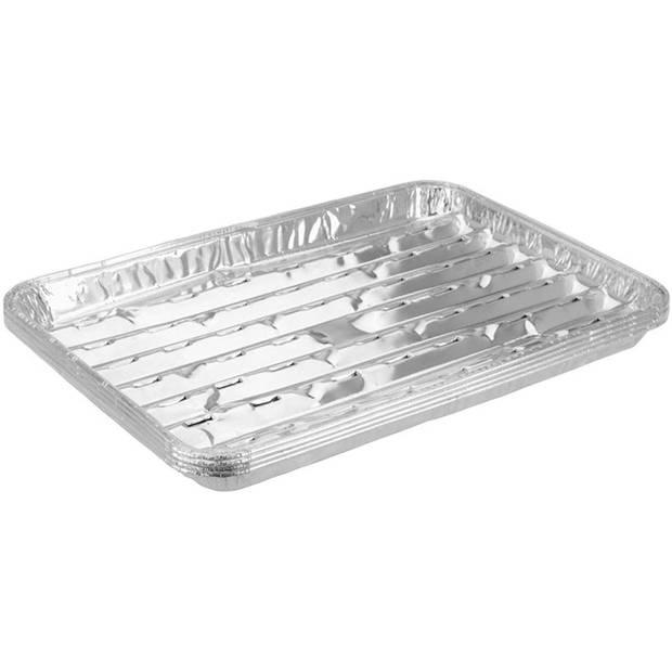 BBQ aluminium grillschalen zilver 34 x 23 x 2,5 cm