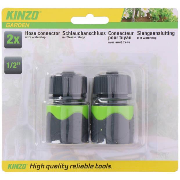 Kinzo slangaansluiting 3,5 x 6 cm ABS grijs/groen 2-delig