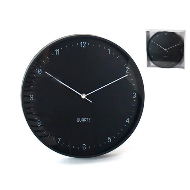 Gerimport - Moderne Trendy wandklok Zwart 31.5cm - klokken – decoratie – design – woonaccessoires