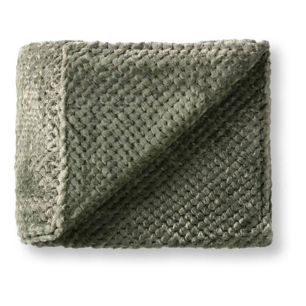 Blokker fleeceplaid XXL - groen - 150x200 cm