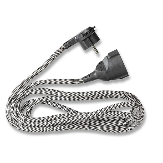 Q-LINK textiel verlengsnoer 3x1.5mm met platte stekker, randaarde 3 meter zwart/wit