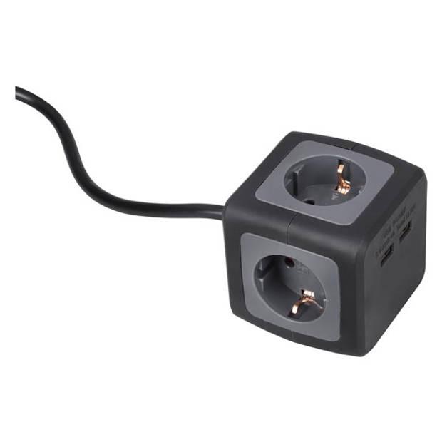 Q-LINK Stekkerdoos powercube 4 voudig randaarde 2 USB 3x1.5 zwart goud 1.5 meter