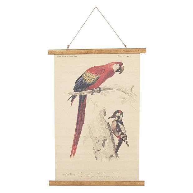 Wandkaart vogels - 50*2*70 cm - meerkleurig - linnen - rechthoekig - vogels - Clayre & Eef - 6WK0028