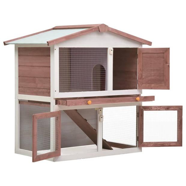 vidaXL Konijnenhok voor buiten met 3 deuren hout bruin