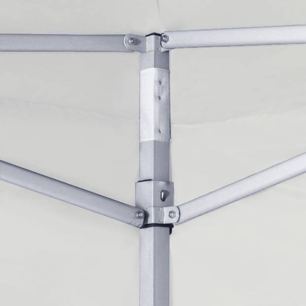 vidaXL Partytent met 2 zijwanden inklapbaar 3x3 m staal wit