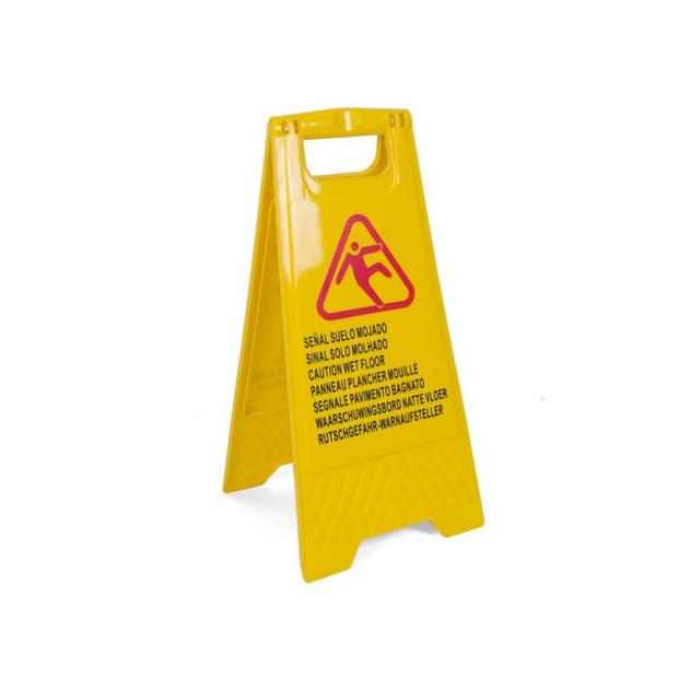 Gerimport - Waarschuwingsbord gladde of natte vloer in 7 talen - 'Caution wet floor' - Tweezijdig – Schoonmaak –
