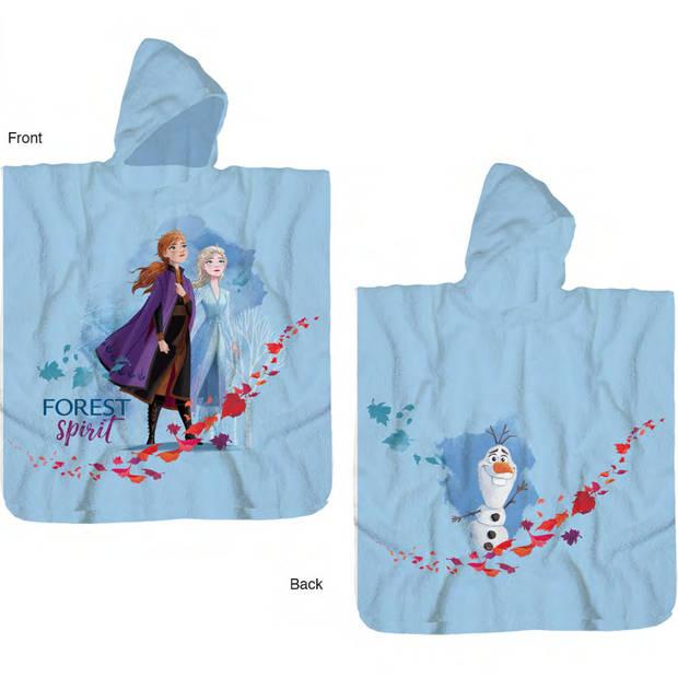 Disney Frozen Poncho Katoen - 60 x 120 cm - Blauw