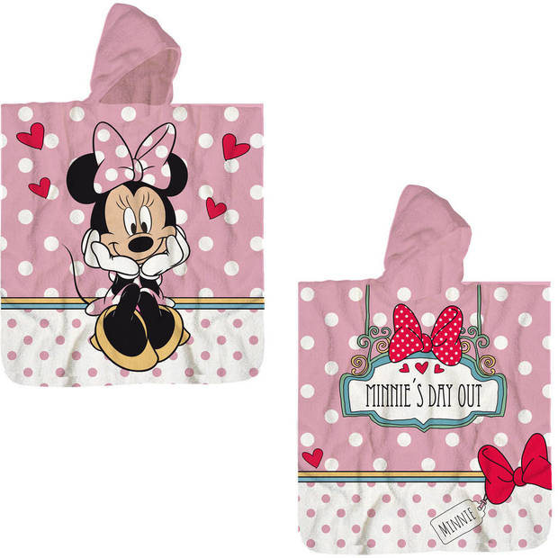 Disney Minnie Mouse Poncho Katoen - 60 x 120 cm - Roze