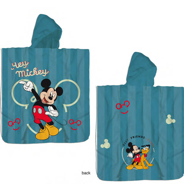 Disney Mickey Mouse Poncho Katoen - 60 x 120 cm - Blauw