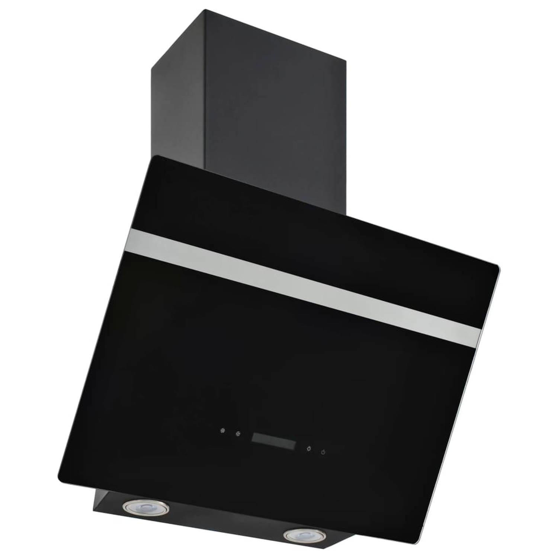 vidaXL Wandafzuigkap 60 cm roestvrij staal en gehard glas zwart