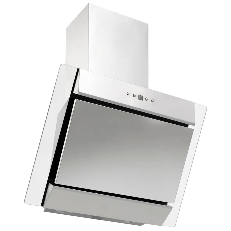 vidaXL Wandafzuigkap 60 cm roestvrij staal gehard glas zilverkleurig