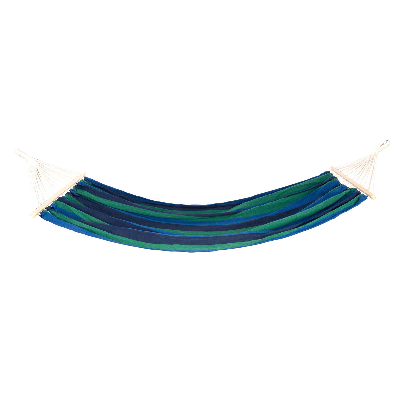 Lifetime Garden - Hangmat - Blauw/groen - 100% Katoen - Met Spreidstokken En Metalen Ringen