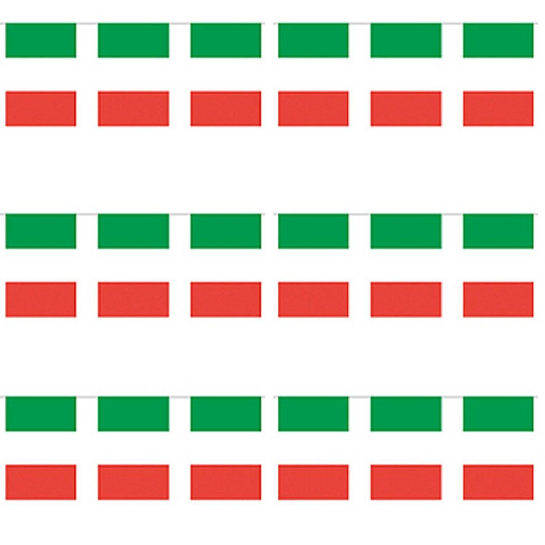 3x Papieren Slinger Italie 4 Meter Italiaanse Vlag Supporter Feestartikelen Landen Decoratie Versiering Blokker