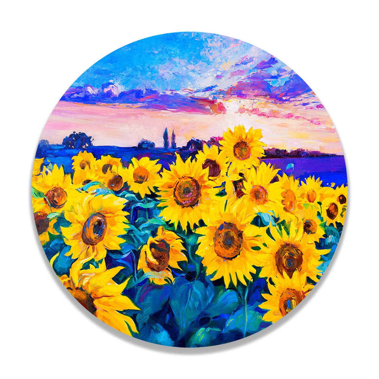 Wandcirkel Moderne Zonnebloemen