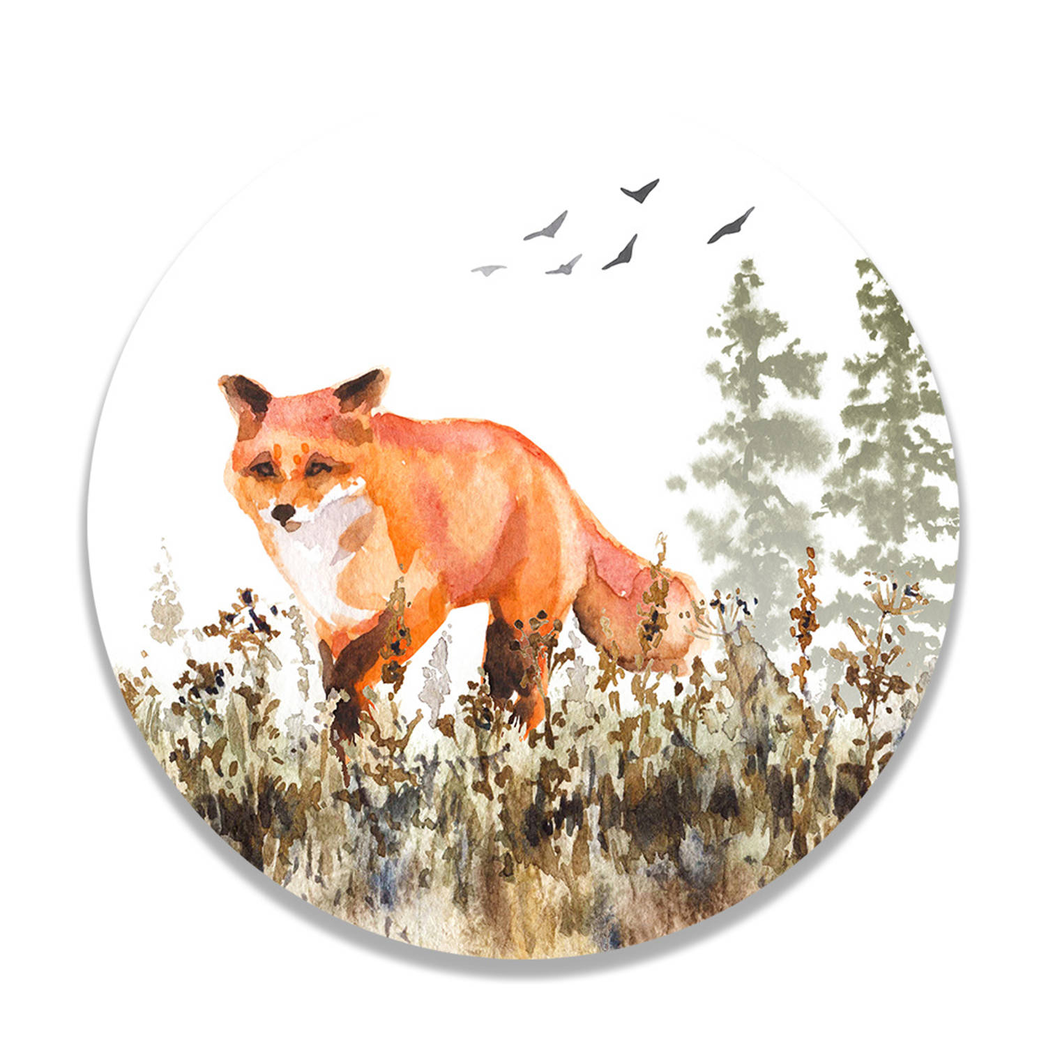 Wandcirkel Walking Fox
