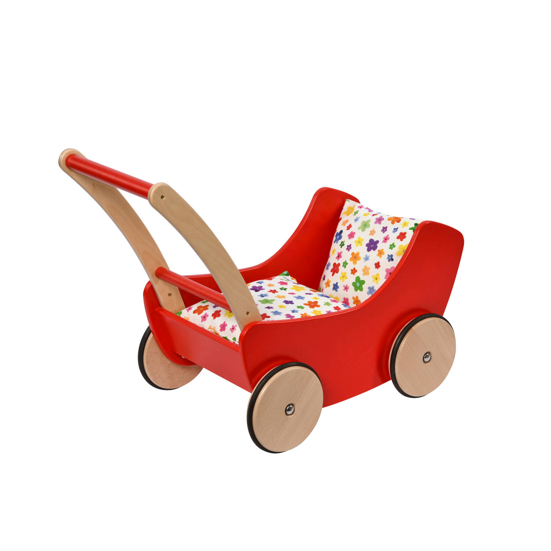 Nic poppenwagen hout 45 cm rood-bruin