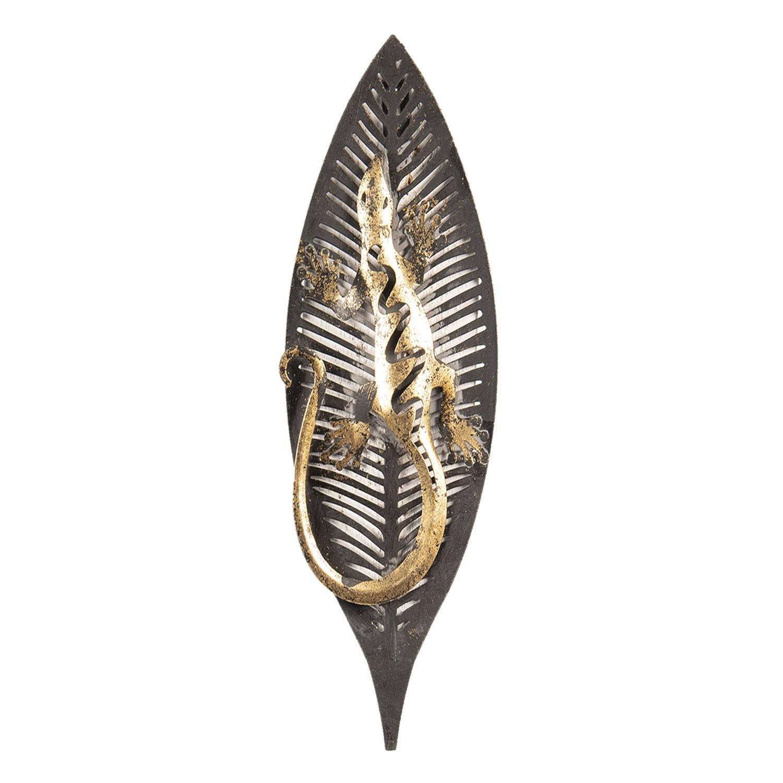 Clayre & Eef Wanddecoratie hagedis op blad 33*3*12 cm Grijs Metaal Hagedis 64329