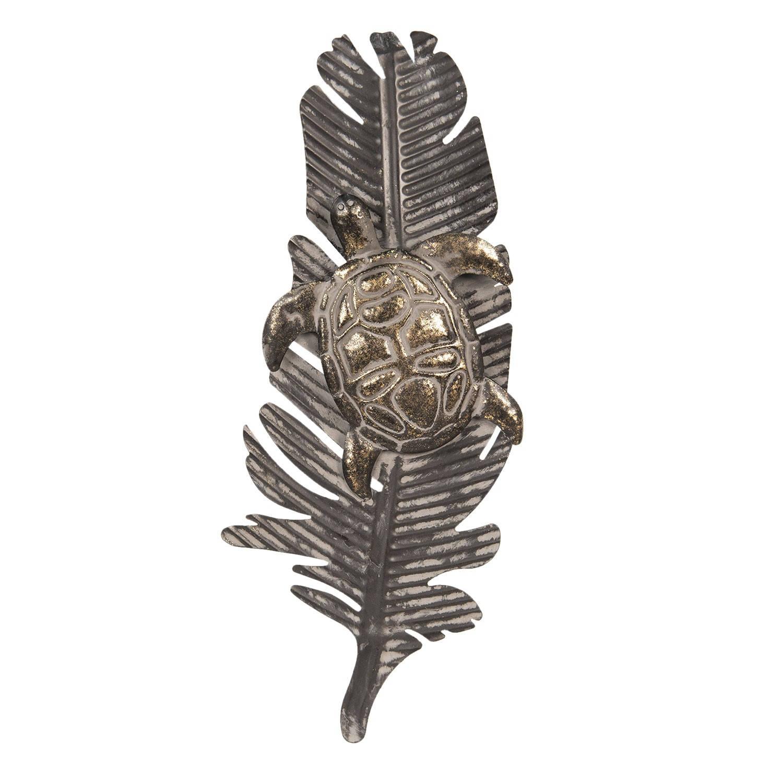 Clayre & Eef Wanddecoratie schildpad op blad 54*4*22 cm Grijs Metaal Schildpad 64327
