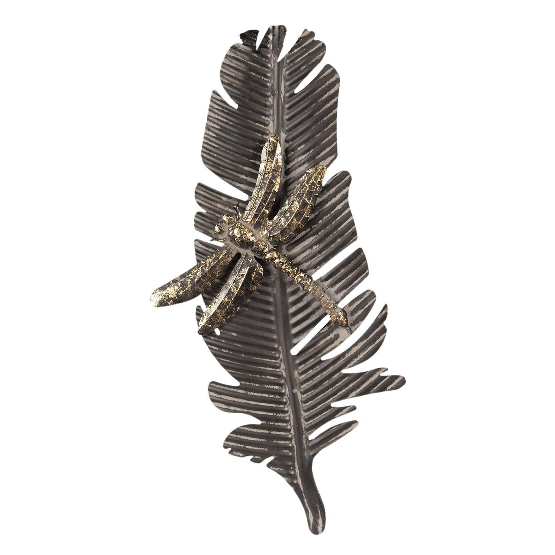 Clayre & Eef Wanddecoratie libelle op blad 55*4*25 cm Grijs Metaal Libelle 64328