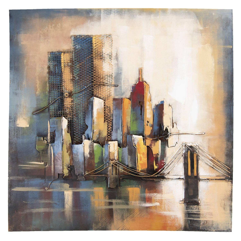 Clayre & Eef Wanddecoratie skyline 100*4*100 cm Meerkleurig Ijzer Vierkant Skyline 5WA0138