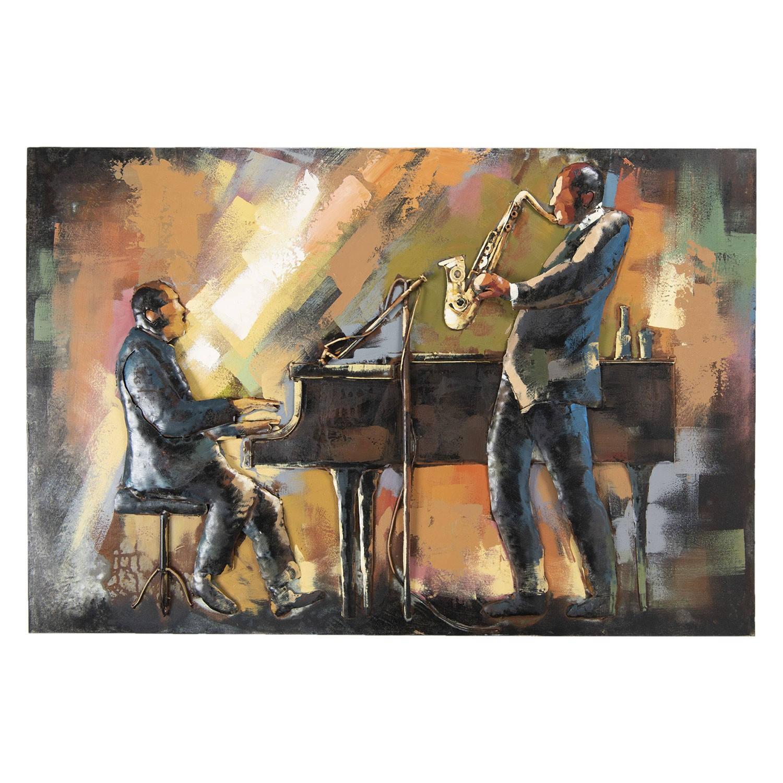 Clayre & Eef Wanddecoratie muzikanten 120*5*80 cm Meerkleurig Ijzer Rechthoek Muzikanten 5WA0141