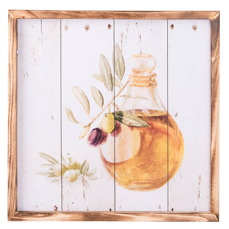 Clayre & Eef Schilderij 6h1658 40*2*40 Cm - Meerkleurig Hout